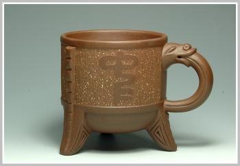 紫砂壶图片:三足龙杯 - 宜兴紫砂壶网