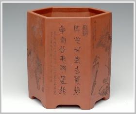 紫砂壶图片:六方笔筒1 - 宜兴紫砂壶网