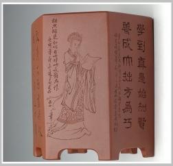 紫砂壶图片:六方笔筒2 - 宜兴紫砂壶网