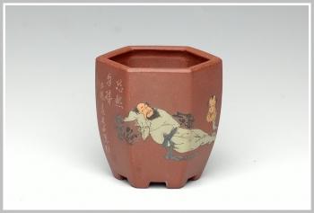 紫砂壶图片:全手六方小花盆 - 宜兴紫砂壶网