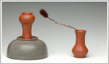 紫砂壶图片:全手清竹一对小花瓶 - 宜兴紫砂壶网