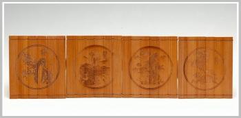 紫砂壶图片:竹雕梅兰竹菊杯垫 - 宜兴紫砂壶网