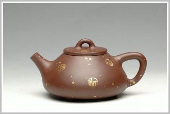 紫砂壶图片:金福 小子冶石瓢 - 宜兴紫砂壶网