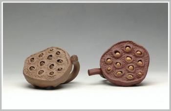 紫砂壶图片:手工制作的莲蓬茶宠 - 宜兴紫砂壶网