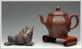 紫砂壶图片:圆润精神 高俊优雅 全手工 古韵方壶 - 宜兴紫砂壶网