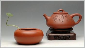紫砂壶图片:鲍志强爱徒厉上清刻绘 谈剑锋精品子冶石瓢 - 宜兴紫砂壶网