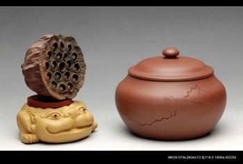 紫砂壶图片:文房雅器 王翔鸟之茶仓 墨陶刻绘 - 宜兴紫砂壶网