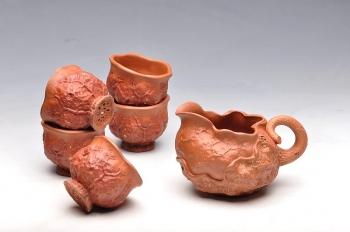 紫砂壶图片:刘景降坡泥新公道杯子6件套 - 宜兴紫砂壶网