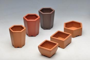 紫砂壶图片:6个微型花盆 玩玩盆景 玩玩砂料 玩玩全手镶片 - 宜兴紫砂壶网