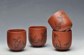 紫砂壶图片:八大风格之 高温小红泥圆亭杯 降坡泥斗笠杯 - 宜兴紫砂壶网