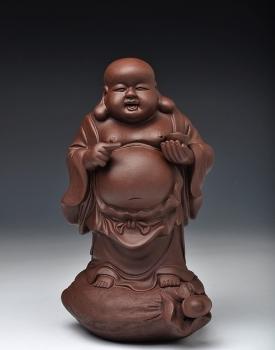 紫砂壶图片:元宝佛 送财平安 形象生动 - 宜兴紫砂壶网