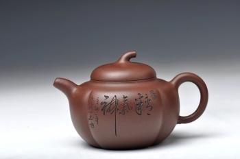 紫砂壶图片:饱满可爱 瓜壶 精气神 送礼佳品 - 宜兴紫砂壶网