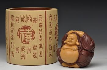 紫砂壶图片:福禄寿喜 笔筒 送礼自用佳品 别具一格 - 宜兴紫砂壶网