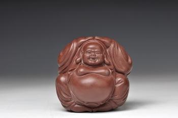 紫砂壶图片:欢天喜地 做工细腻传神 笑弥勒 喜庆 - 宜兴紫砂壶网
