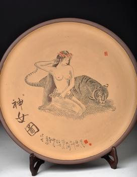紫砂壶图片:神女图  直径40cm挂盘 - 宜兴紫砂壶网
