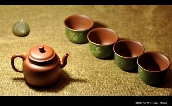 紫砂壶图片:石丁之经典作品  佛缘杯一套 古色古香 雅致 - 宜兴紫砂壶网