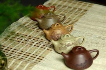紫砂壶图片:全手文气五彩石瓢 - 宜兴紫砂壶网