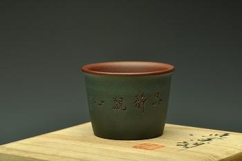 紫砂壶图片:粉绿禅定杯  雅致文气~ - 宜兴紫砂壶网