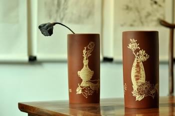 紫砂壶图片:雅室 陆轶舟精心装饰 吉祥帽筒一对 文气耐品~ - 宜兴紫砂壶网