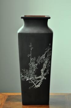 紫砂壶图片:陆逸舟近作 文房雅物~ 全手四方瓶 - 宜兴紫砂壶网