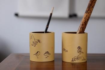 紫砂壶图片:笔筒 耐品雅趣 文房雅玩 - 宜兴紫砂壶网