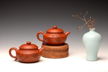 紫砂壶图片:张听钢装饰 传统实用 全手朱泥仿古 优质朱泥 - 宜兴紫砂壶网