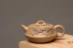 紫砂壶图片:文气之作 扁础 - 宜兴紫砂壶网
