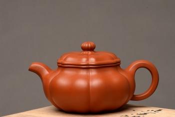 紫砂壶图片:朱泥筋囊 难得完美品  葵仿古 大口实用 丰润精美  - 宜兴紫砂壶网