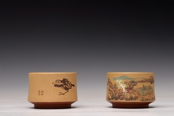 紫砂壶图片:禅定杯 精品品茗杯 清水泥粉段泥 - 宜兴紫砂壶网