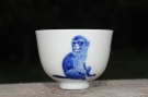 紫砂壶图片:生肖猴 景德镇全手工手绘青花主人杯  - 宜兴紫砂壶网