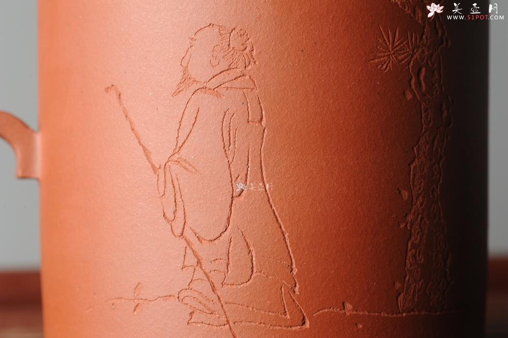 紫砂壶图片:美壶特惠 优质老清水泥文人小壶圆础 助工俞霞即兴装饰 月斜诗梦瘦 风散墨花香 - 宜兴紫砂壶网