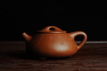 紫砂壶图片:优质朱泥全手工刻竹石瓢 天道无亲常与善人 - 宜兴紫砂壶网