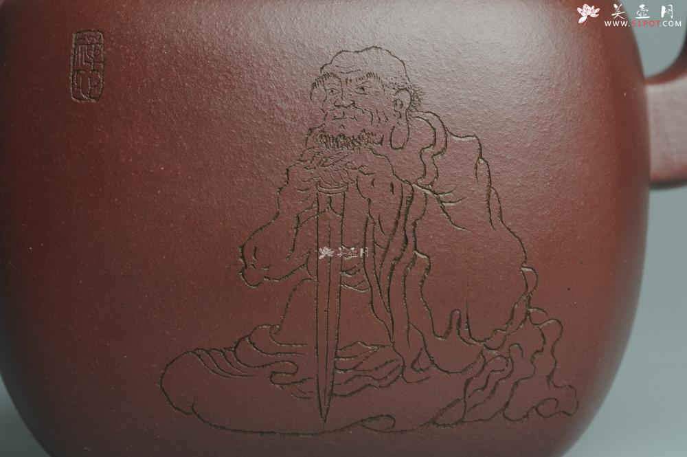 紫砂壶图片:实力派张海艳全手工重器鸣远四方 方健老师双刀装饰 浑厚大气 - 宜兴紫砂壶网