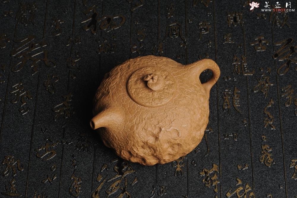 紫砂壶图片:美壶特惠 进步明显全手工黄金段泥灵芝供春壶 龚春 肌理丰富 - 宜兴紫砂壶网