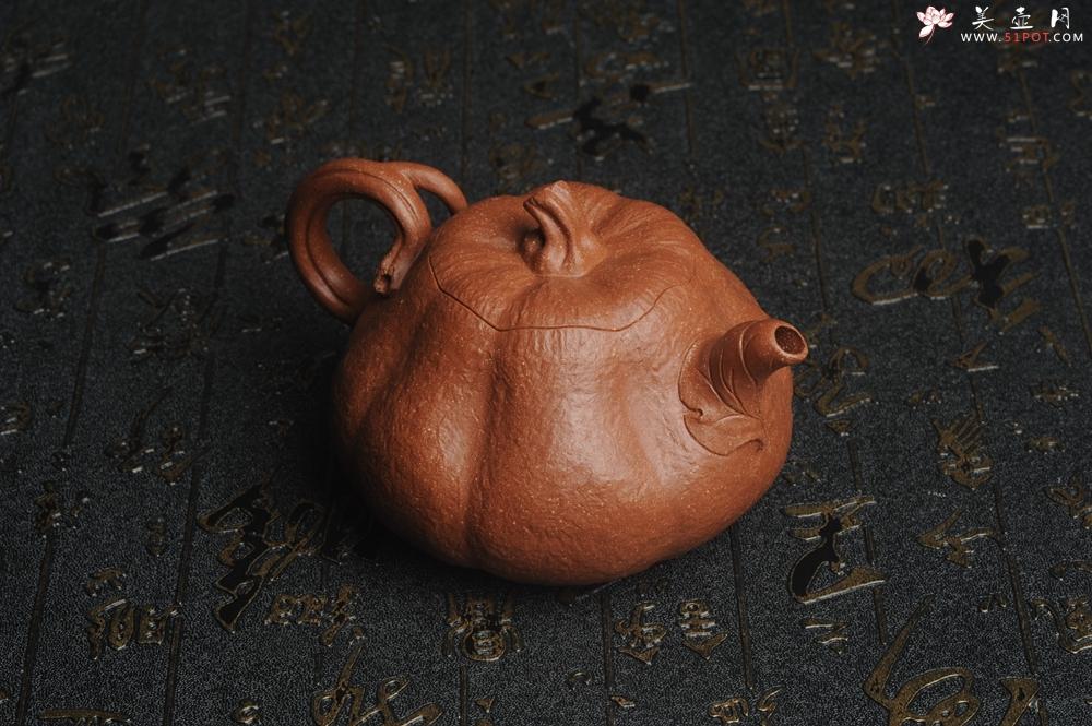 紫砂壶图片:美壶特惠 精致卡盖全手工油润降坡泥仿生小叶歪瓜 难度大 - 宜兴紫砂壶网