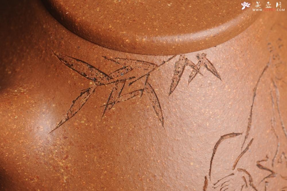 紫砂壶图片:油润五彩段泥 全手工薄胎精品子冶石瓢 难度大 骨肉匀挺 文气装饰高士乘凉图 无为 - 宜兴紫砂壶网