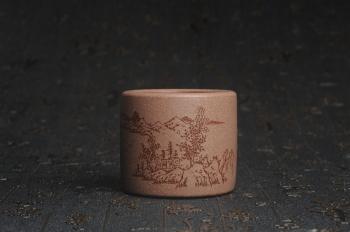 紫砂壶图片:美杯特惠 精品好泥好工好刻雅致厚实品茗杯 缸杯 山居图 - 宜兴紫砂壶网