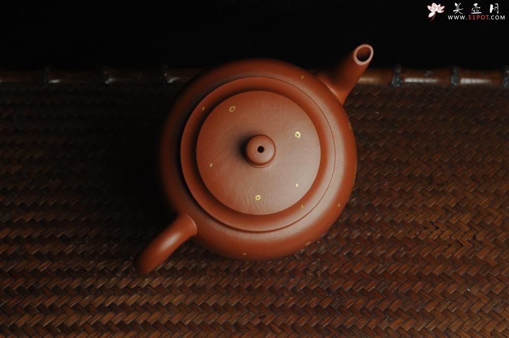 紫砂壶图片:特好朱泥全手工描金平盖古莲子 - 宜兴紫砂壶网