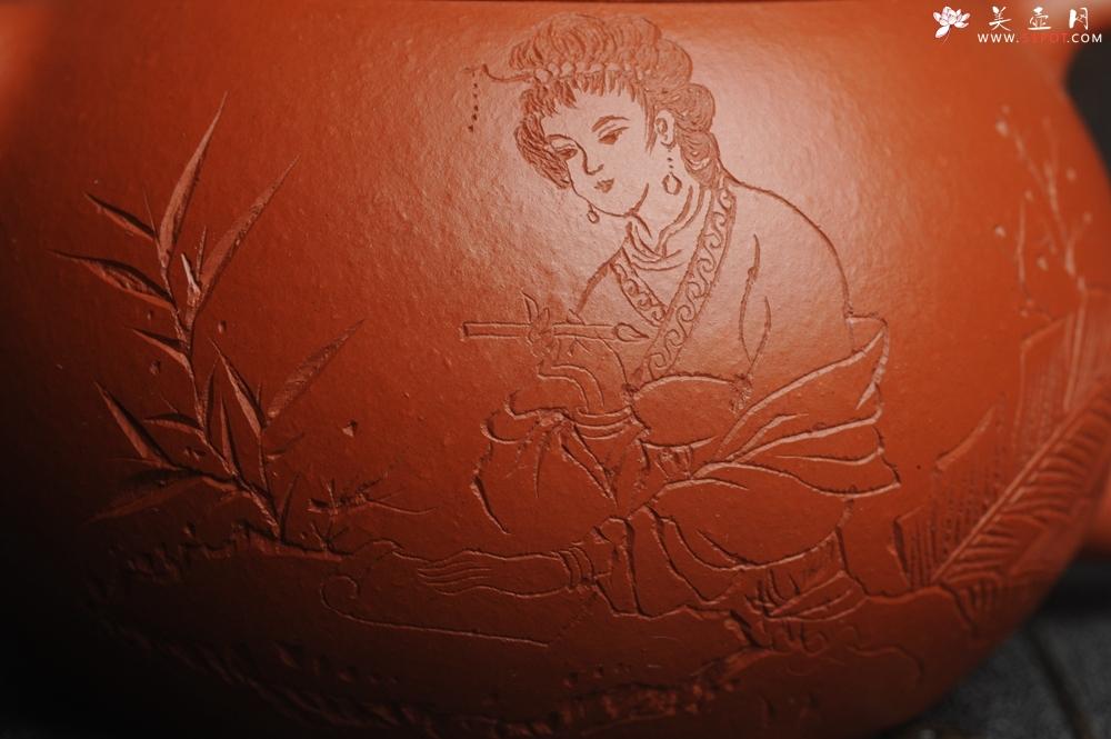 紫砂壶图片:特油润老朱泥 全手工美女西施壶 方健老师精心双刀刻绘 收缩大成型难 难得美品 - 宜兴紫砂壶网