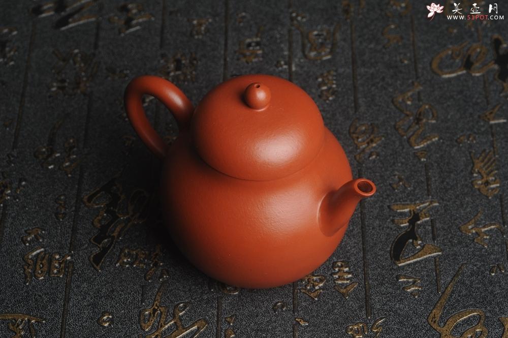 紫砂壶图片:美壶特惠 油润大红袍朱泥 手中无梨式 何以言茗事 小品高梨形 - 宜兴紫砂壶网