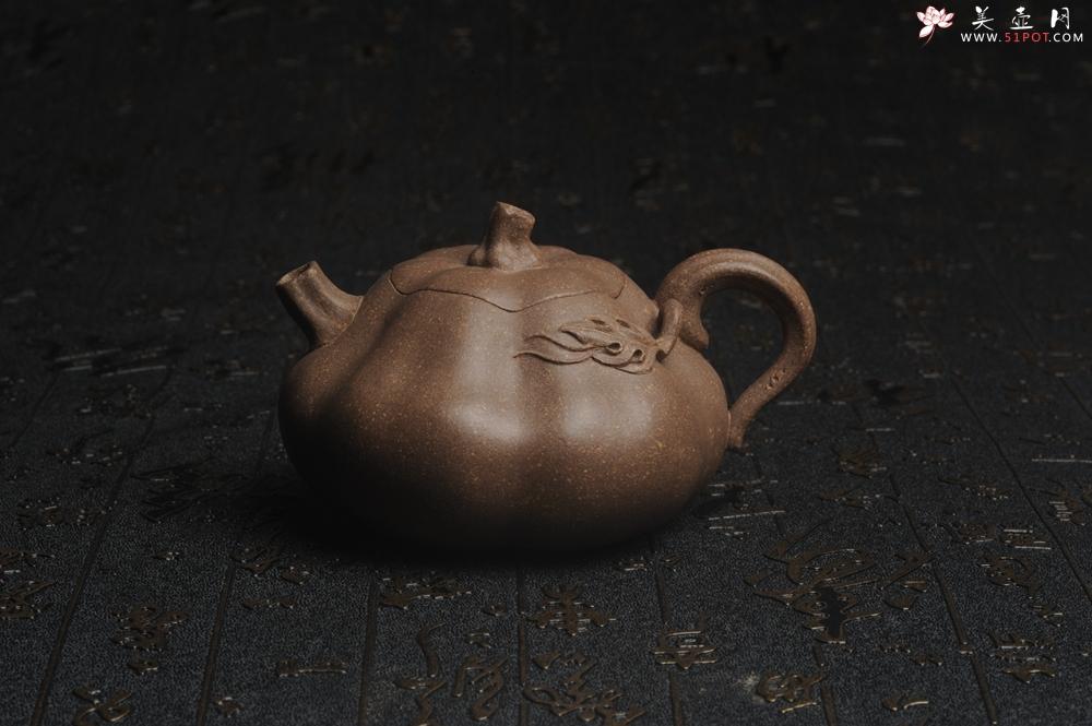 紫砂壶图片:美壶特惠 优质青降坡泥精致卡盖全手工仿生小南瓜 - 宜兴紫砂壶网