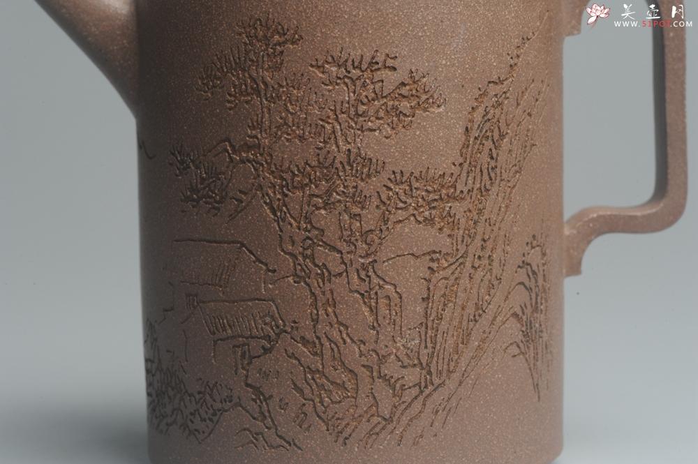 紫砂壶图片:美壶特惠 优质老段文人集狮壶 通景山水 灰常雅致 - 宜兴紫砂壶网