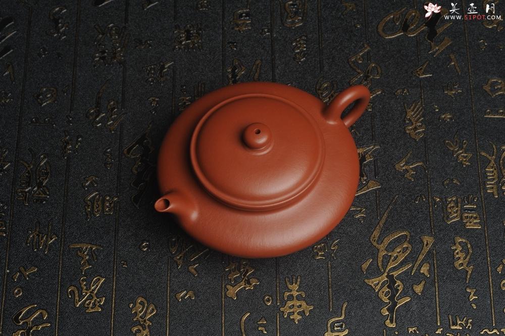 紫砂壶图片:特好小煤窑朱泥精工全手小虚扁 功夫茶具 - 宜兴紫砂壶网