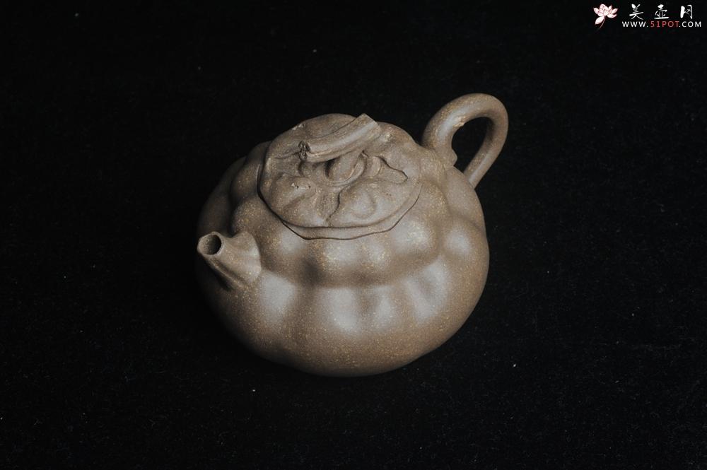 紫砂壶图片:美壶特惠 精致卡盖全手工老青段仿生小花货柿子壶 茶人醉爱 - 宜兴紫砂壶网