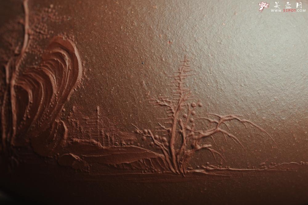 紫砂壶图片:美壶特惠 工料俱佳满瓢(景舟石瓢)泥绘山水 野旷天低树江清月近人 单色泥绘更显功力 - 宜兴紫砂壶网