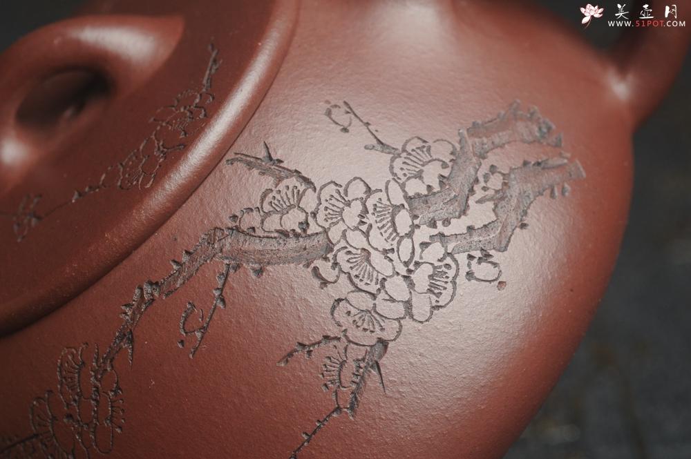 紫砂壶图片:油润底曹青 全手工周氏石瓢 装饰喜上眉梢 特文气 - 宜兴紫砂壶网