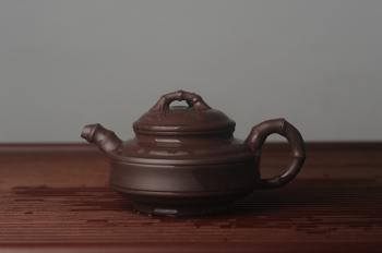 紫砂壶图片:美壶特惠 优质老紫泥双线竹鼓二式 养后特润 - 宜兴紫砂壶网