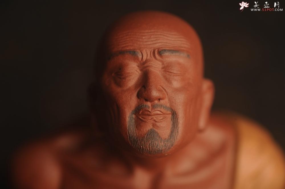 紫砂壶图片:迎中秋特惠紫砂雕塑 精工好料沐心罗汉 高14cm - 宜兴紫砂壶网