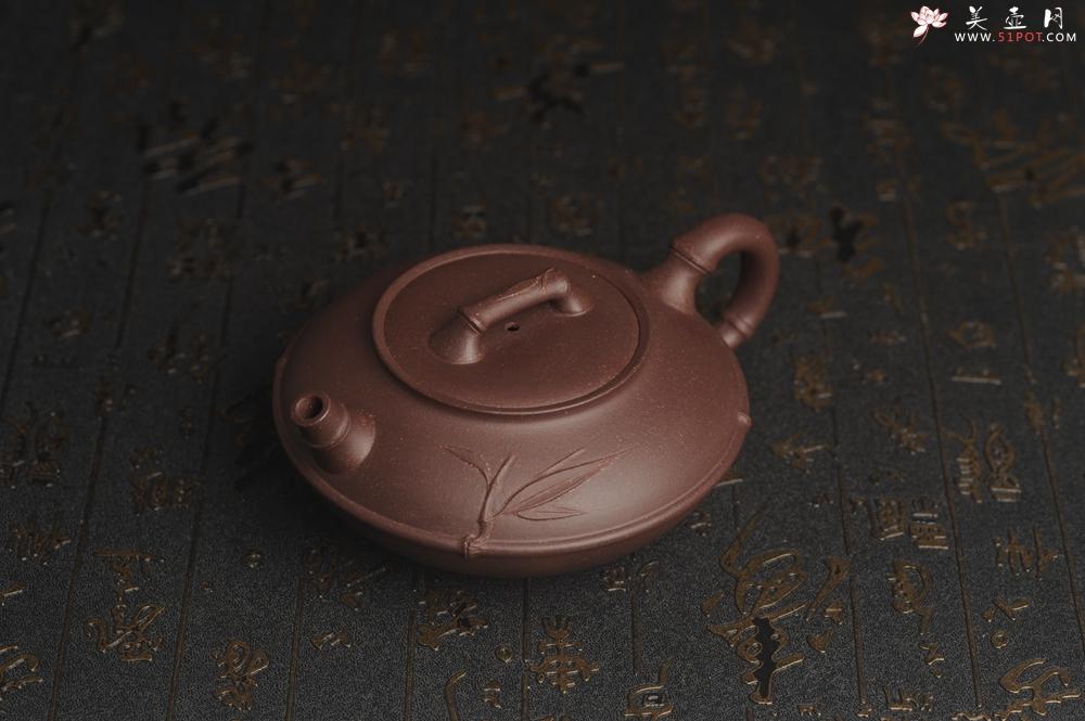 紫砂壶图片:美壶特惠 精致紫泥竹扁壶 茶人醉爱 - 宜兴紫砂壶网