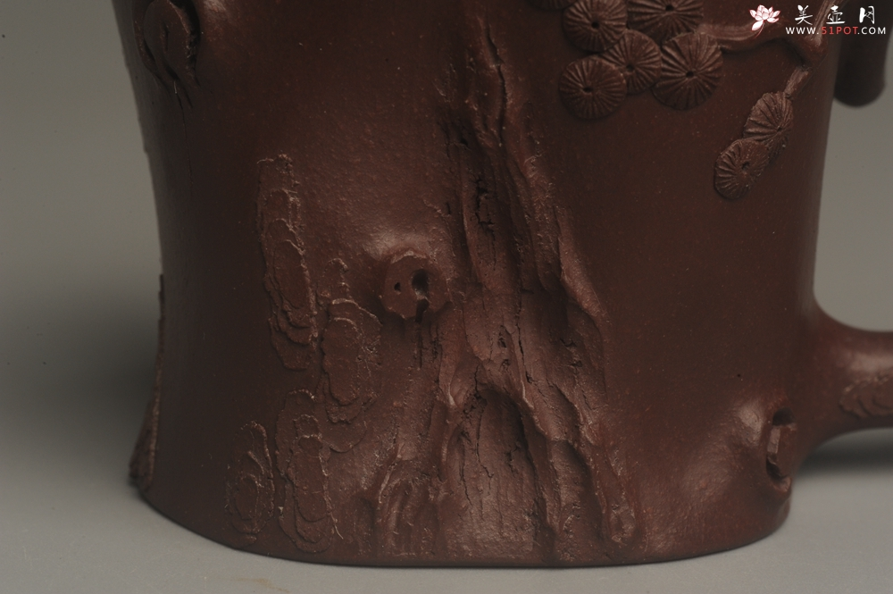 紫砂壶图片:实力演绎全手工重器松桩套组 一壶(280cc)二杯(130cc)一公道杯(188cc) - 宜兴紫砂壶网